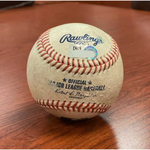 Photo of Colorado Rockies Game-Used Baseball- Pitcher: Alex Young, Batter: Chris Owings (Home Run to Left Field) - August 10, 2020 vs. Arizona Diamondbacks