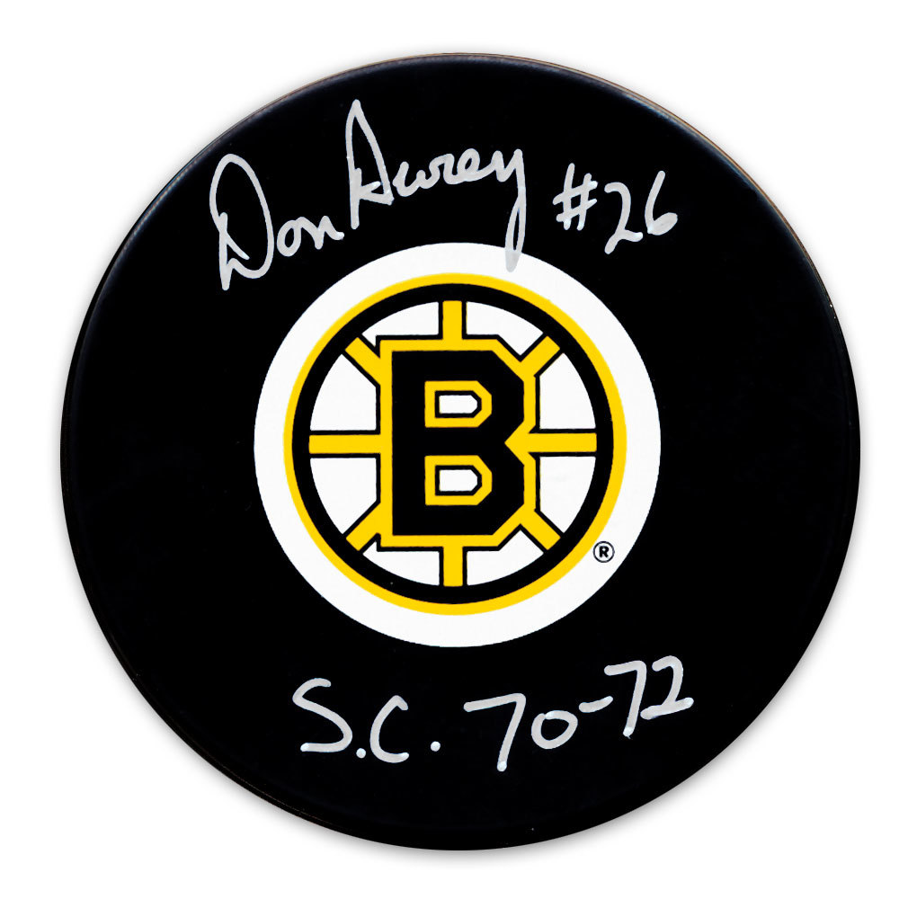 Don Awrey Boston Bruins 1970 & 72 Cup Autographed Puck