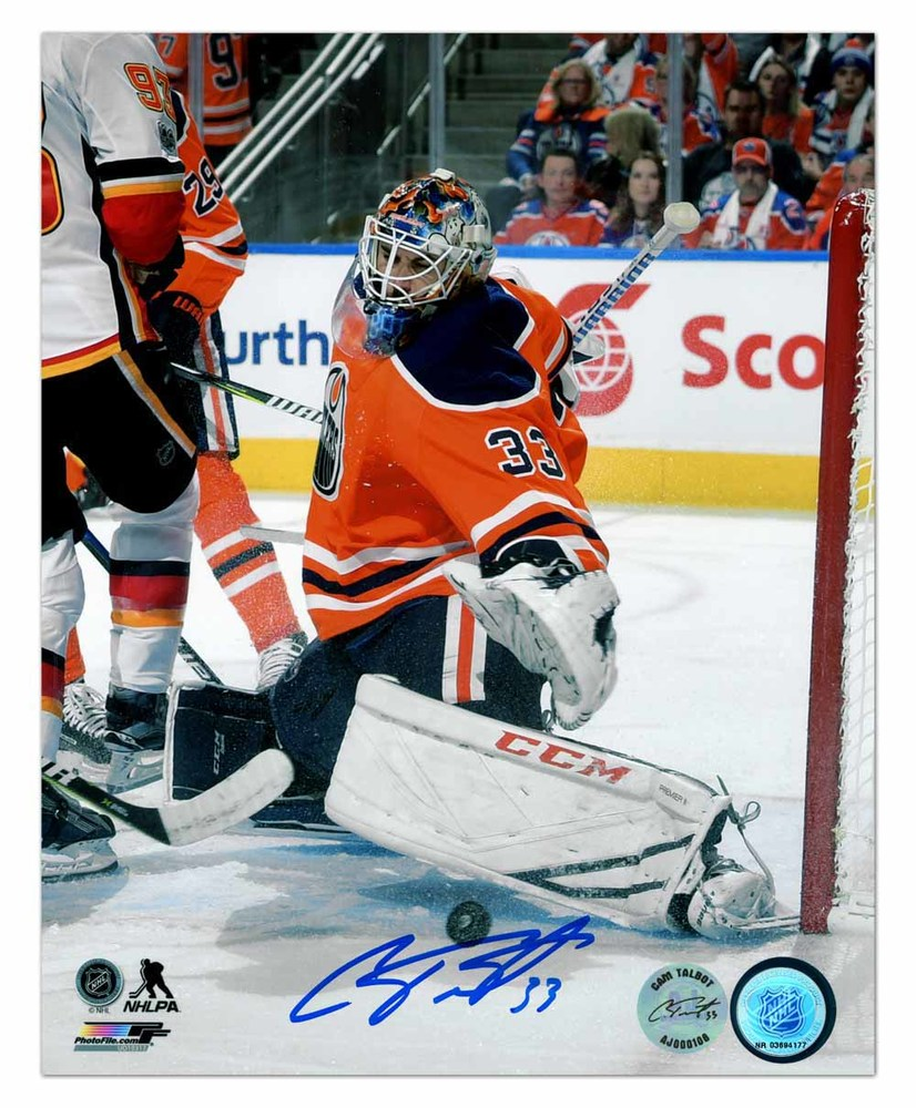 Cam Talbot Edmonton Oilers Autographed Goalie Pad Save 8x10 Photo