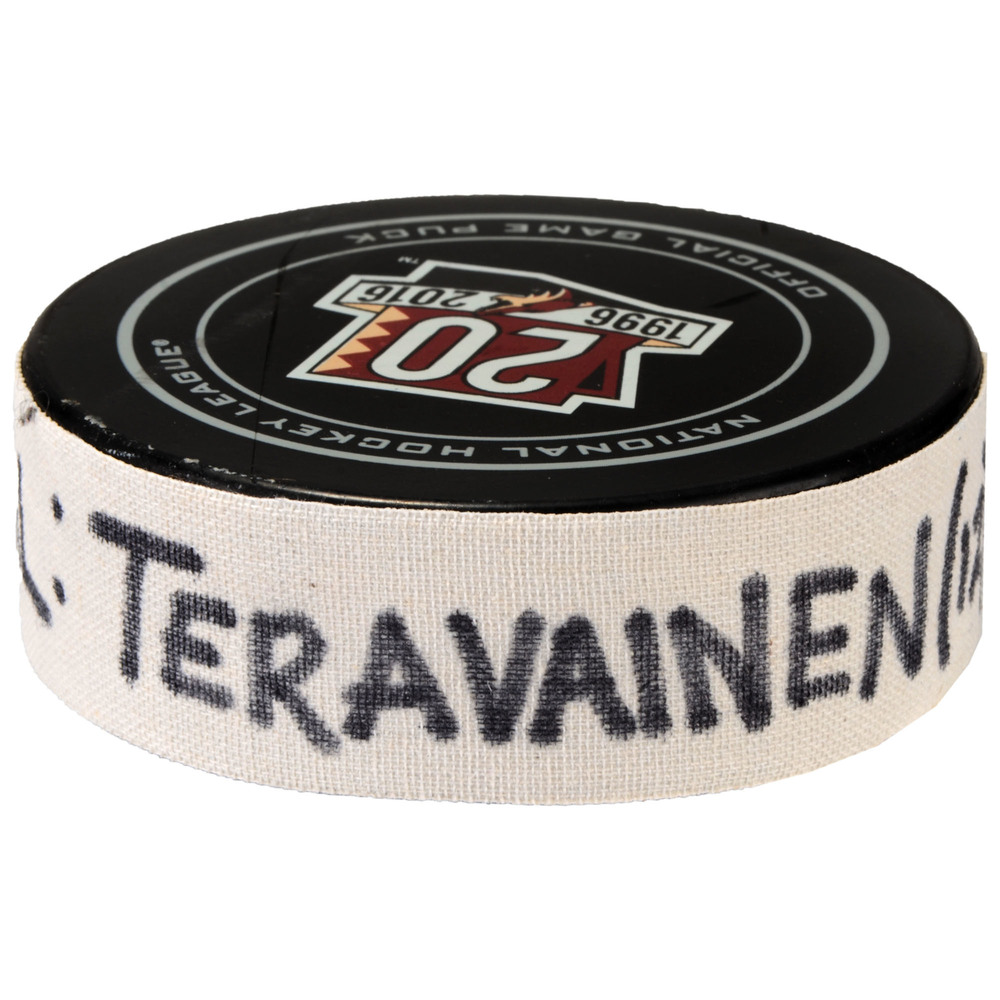 Teuvo Teravainen Carolina Hurricanes Game-Used Goal Puck from March 5, 2017 vs. Arizona Coyotes