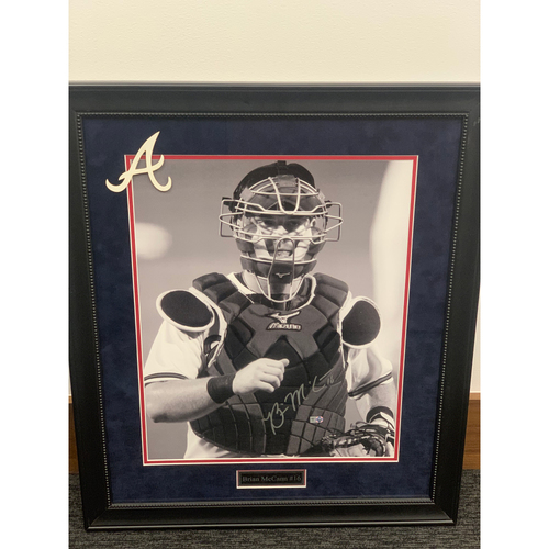 Photo of Brian McCann Framed and Autographed Black & White Portrait
