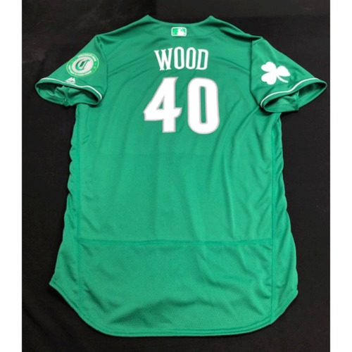 Photo of Alex Wood -- Team-Issued Jersey -- 2019 St. Patrick's Day