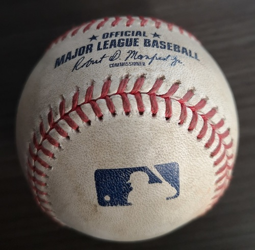 Photo of Authenticated Game Used Baseball: 2 RBI Double by Ronald Acuna Jr. against Jacob Waguespack (Aug 28, 19 vs ATL). Top 2.