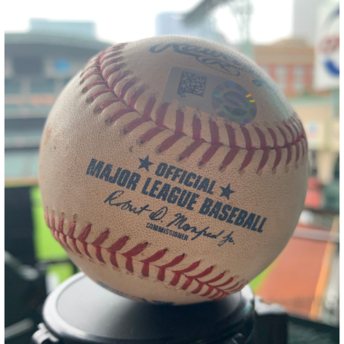 Photo of Houston Astros Game-Used Baseball: Pitcher: Jordan Zimmermann, Batter: George Springer - Double - Bot 1 - 8/22/19 vs. DET