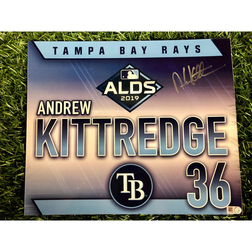 Photo of Team Issued ALDS Autographed Locker Tag: Andrew Kittredge