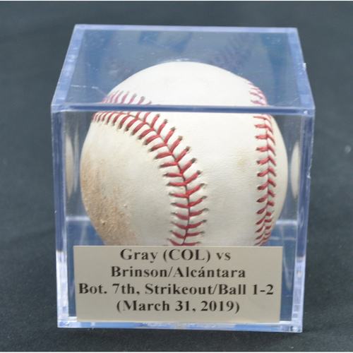 Photo of Game-Used Baseball: Jon Gray (COL) vs Lewis Brinson/Sandy Alcántara, Bot. 7th, Strikeout/Balls 1, 2 (March 31, 2019)