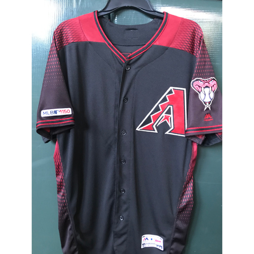 Photo of Taylor Clarke Game-Used Black Alternate Jersey, Size 46 -- 8/17/19 vs. Giants - 1.2 IP, 1 K