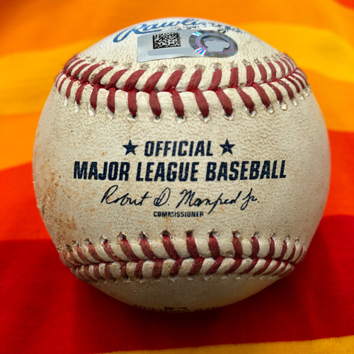 Photo of Opening Day 2020 Game-Used Baseball: Anthony Misiewicz to George Springer (Ball in Dirt)