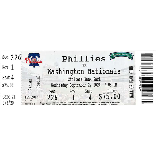 Photo of September 2, 2020 Ticket: Phillies vs. Nationals