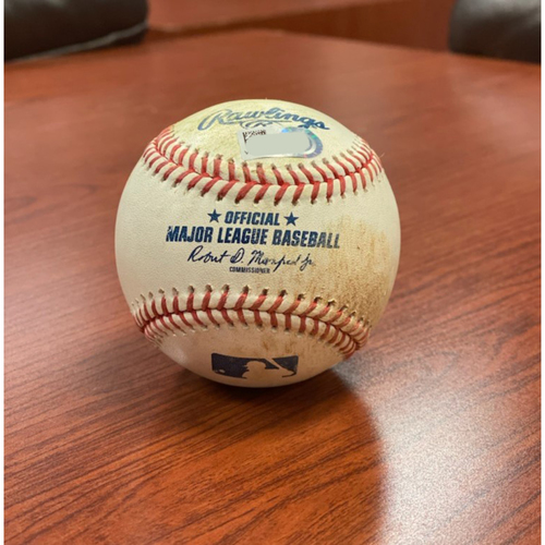 Photo of Colorado Rockies Game-Used Baseball- Pitcher: Jaime Barria, Batter: Ryan McMahon (RBI Single to Justin Upton, Josh Fuentes Scores) - September 12, 2020 vs. Los Angeles Angels.