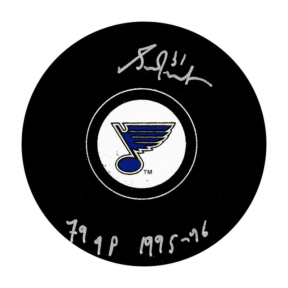 Grant Fuhr Autographed St. Louis Blues Puck w/79 GP 1995-96