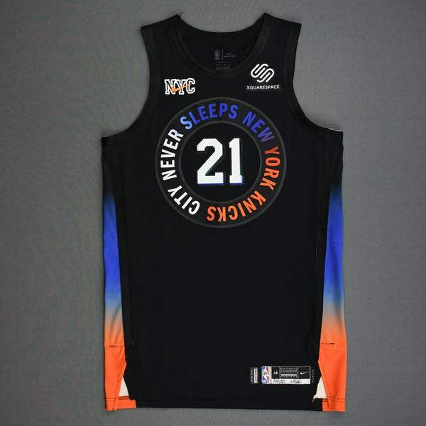 Image of Theo Pinson - New York Knicks - Game-Worn City Edition Jersey - Dressed, Did Not Play (DNP) - 2020-21 NBA Season