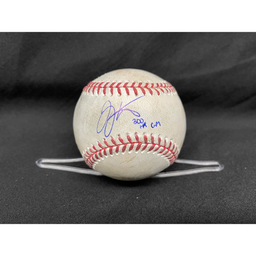 Photo of Joey Votto *Game-Used, Autographed & Inscribed* Baseball from 300th Career HR Game - Justin Steele to Tyler Naquin (Foul) -- 04/30/2021 - CHC vs. CIN - Bot 5