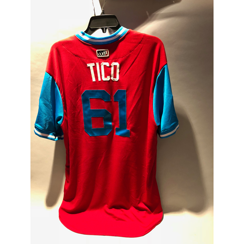 "Photo of Philadelphia Phillies 2018 Little League Classic Game-Used Jersey - Edubray ""Tico"" Ramos - 8/19/2018"
