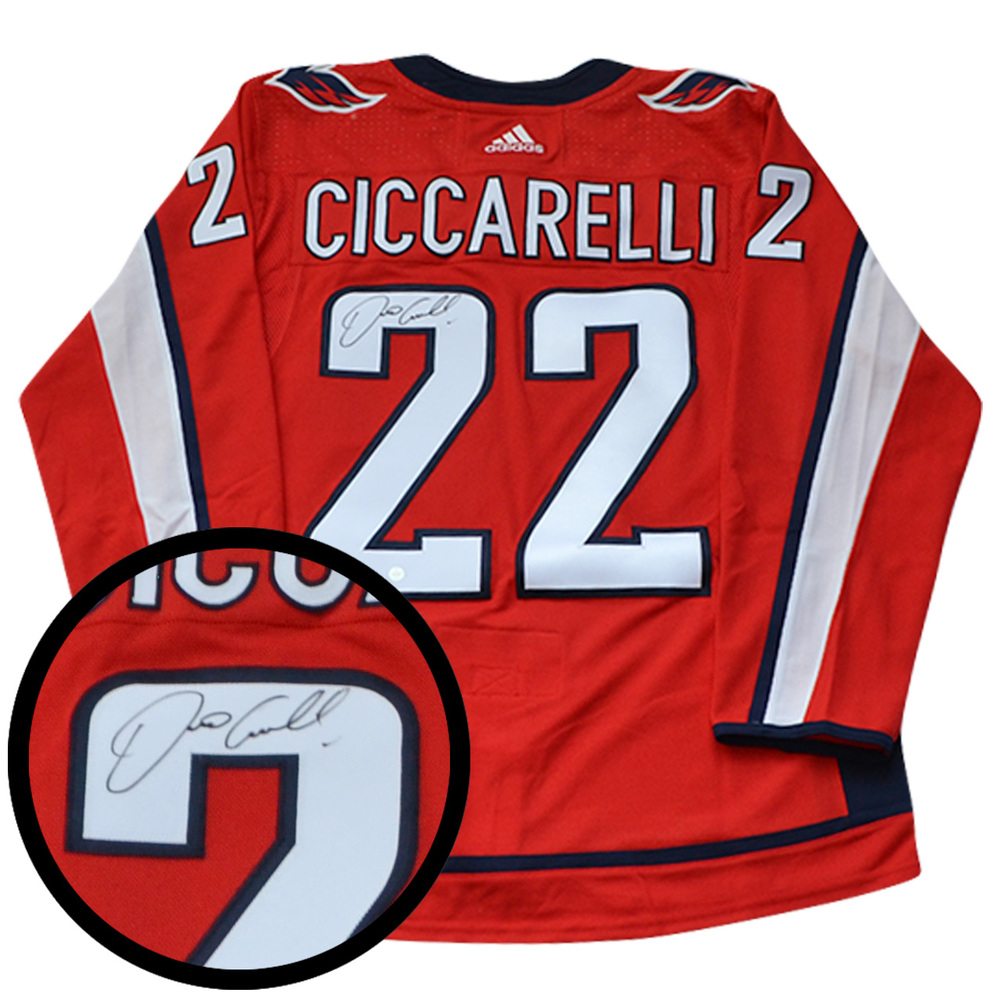 Dino Ciccarelli Signed Jersey Capitals Pro Red 2017-2019 Adidas
