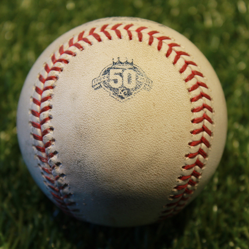 Photo of Game-Used Baseball: Aaron Slegers Pitched Strikeout to Alcides Escobar (5/30/18 - MIN @ KC)