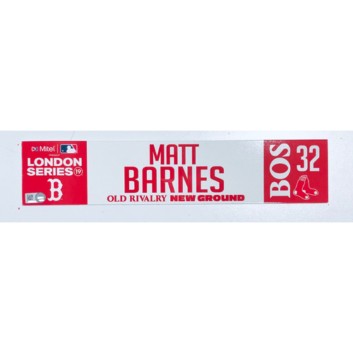 Photo of 2019 London Series - Game Used Locker Tag - Matt Barnes, New York Yankees vs Boston Red Sox - 6/30/2019