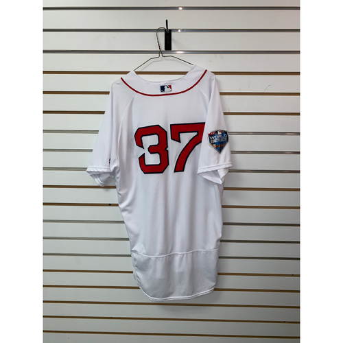 Photo of Heath Hembree Game Used October 23, 2018 World Series Game 1 Home Jersey