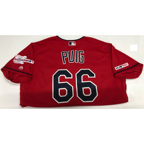 Photo of Yasiel Puig Game Used Jersey, Indians Debut 8/1/19