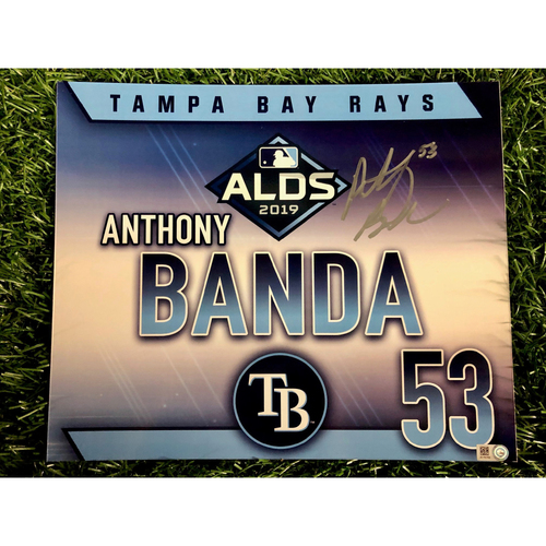 Photo of Team Issued ALDS Autographed Locker Tag: Anthony Banda