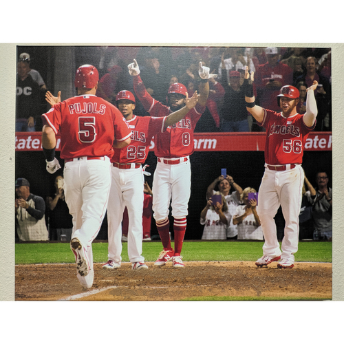 Photo of Albert Pujols 600th Homerun Celebration Photo Canvas with Batters Box Dirt