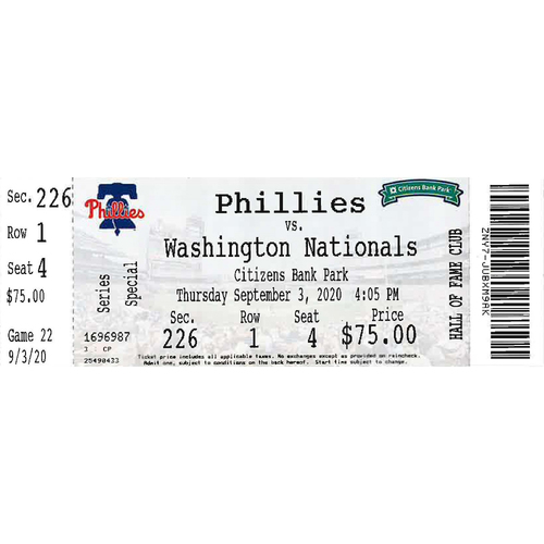 Photo of September 3, 2020 Ticket(Dick Allen Retirement Night/Alec Bohm Walk-Off): Phillies vs. Nationals
