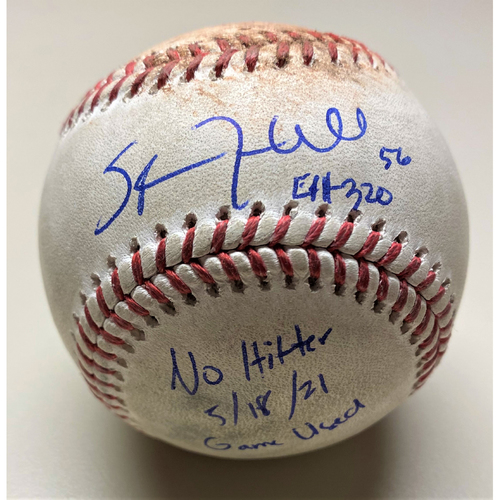 """Photo of Spencer Turnbull Autographed No Hitter Game-Used Baseball with """"No Hitter 5/18/21 Game Used"""" Inscription (MLB AUTHENTICATED)"""