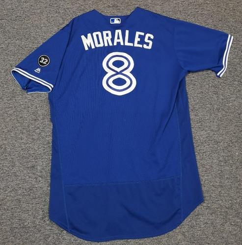 Photo of Authenticated Game Used Jersey - #8 Kendrys Morales (May 1, 2018: 3-for-3 with 2 HRs, 2 Runs, 2 RBIs, 2 Walks. May 20, 2018: 2-for-4 and also pitched 1 IP, 0 ER, 1 BB. 1st MLB Pitching Appearance). Size 50.