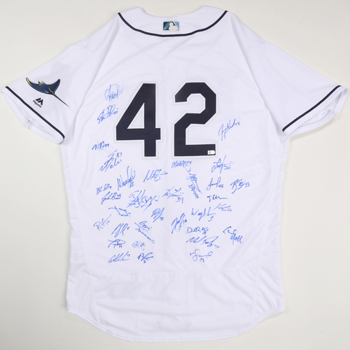 Photo of 2019 Jackie Robinson Day Jersey - Tampa Bay Rays Team Autographed Jersey