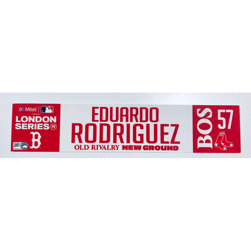 Photo of 2019 London Series - Game Used Locker Tag - Eduardo Rodriguez, New York Yankees vs Boston Red Sox - 6/30/2019