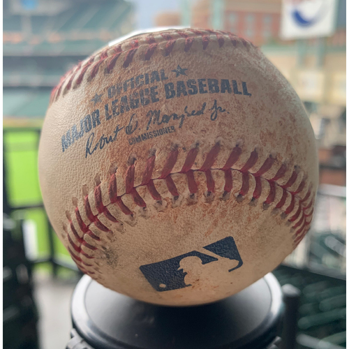 Photo of Houston Astros Game-Used Baseball: Pitcher: Josh James, Batter: Jorge Polanco - 2-RBI Single - Top 6 - 4/22/19 vs. MIN