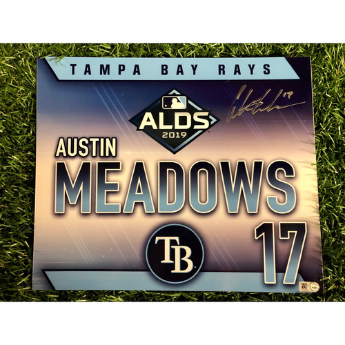 Photo of Game Used ALDS Autographed Locker Tag: Austin Meadows - October 7, 2019 v HOU