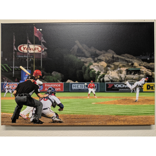 Photo of Albert Pujols 600th Homerun Photo Canvas with Batters Box Dirt