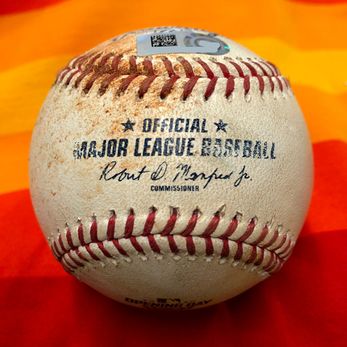 Opening Day 2020 Game-Used Baseball: Zac Grotz to Yuli Gurriel (Ground Out) and Carlos Correa (3 Pitches)