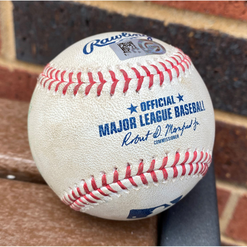 Photo of Johan Camargo MLB Authenticated Game Used Home Run Baseball. This Home Run Was Hit On August 2nd, 2020 vs The New York Mets