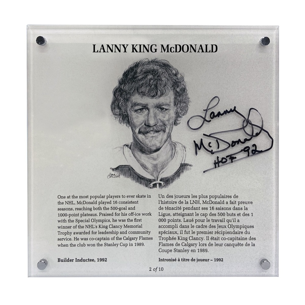 Lanny McDonald Autographed Legends Line Honoured Member Plaque - Limited Edition 2/10