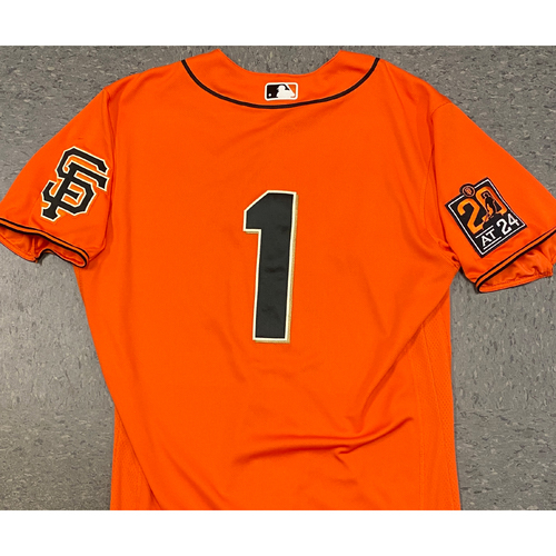 Photo of 2020 Game Used Orange Home Alt Jersey worn by #1 Mauricio Dubon on 7/31 vs. TEX (2-3, RBI, R, BB) & 9/25 vs. SD GM 2 - Size 44