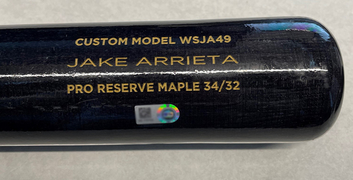 Photo of Jake Arrieta Team-Issued Bat -- 2021 Season