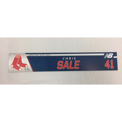 Photo of Chris Sale Game-Used September 25, 2017 Locker Tag