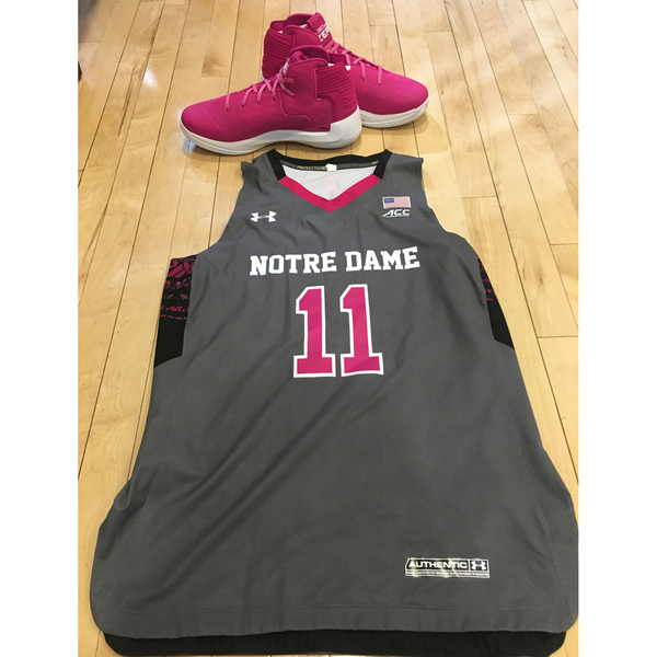 Photo of Notre Dame Women's Basketball 2016-2017 Pink Game Jersey #11 & Under Armour Shoes