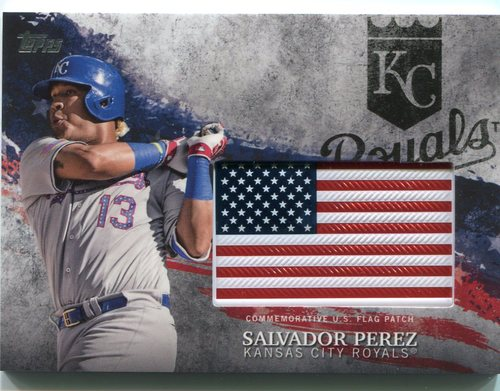 Photo of 2018 Topps Independence Day U.S. Flag Relics #IDMLSP Salvador Perez