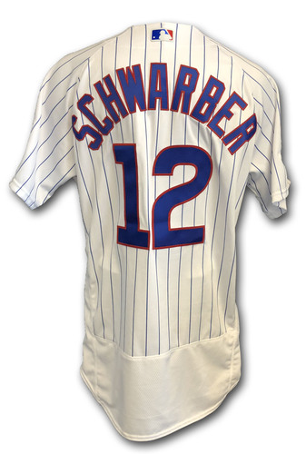 Photo of Kyle Schwarber Game-Used Jersey -- Rockies vs. Cubs -- 10/2/18 -- 2018 Postseason Wild Card