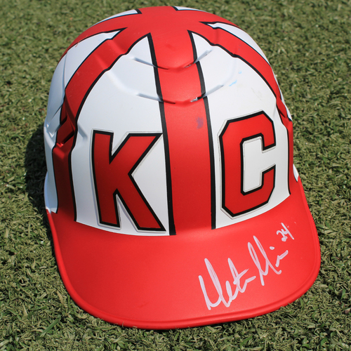 Photo of Salute to the Negro Leagues Autographed & Game-Used Helmet: Mitch Maier (Size 7 - MIN at KC - 6/23/19)