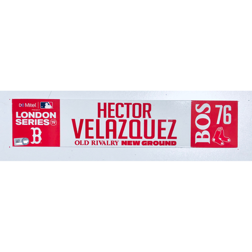 Photo of 2019 London Series - Game Used Locker Tag - Hector Velazquez, New York Yankees vs Boston Red Sox - 6/30/2019