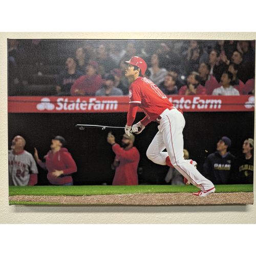 Photo of Shohei Ohtani 1st Homerun Photo Canvas With Batters Box Dirt