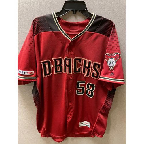 Photo of Stefan Crichton 2019 Game-Used Red Alternate Jersey: 9/1/19 vs. Dodgers and 9/29/19 vs. Padres (Crichton had a combined 1.2IP with 2 K's. Picked up the win in the 9/29/19 game.)