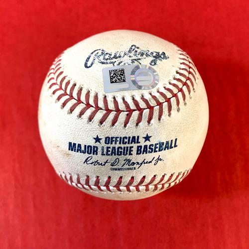 Photo of Game-Used Baseball - Madison Bumgarner RBI Single vs. Robert Gsellman - Mets @ D-backs 6/2/2021