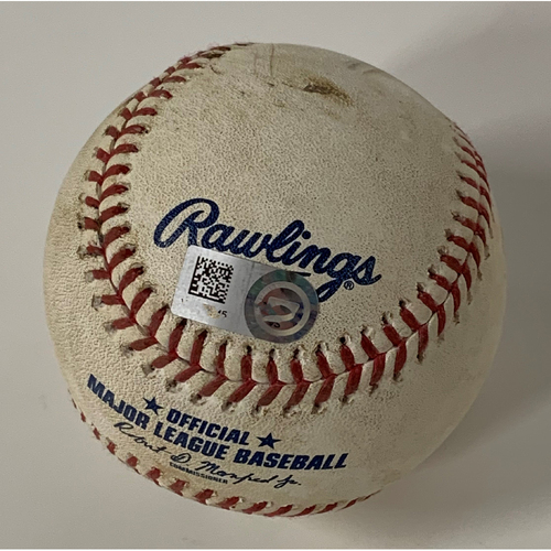 Photo of Game Used Baseball - 9/9/2020 Royals at Indians - Delino DeShields Triples off Pitcher Greg Holland