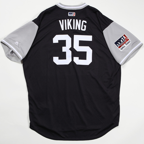 "Photo of Phil ""Viking"" Nevin  New York Yankees Game-Used Jersey 2018 Players' Weekend Jersey"
