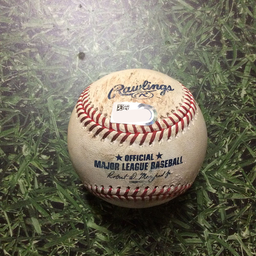 Photo of Game-Used Baseball STL@MIL 03/30/19 - Dakota Hudson - Christian Yelich: Foul